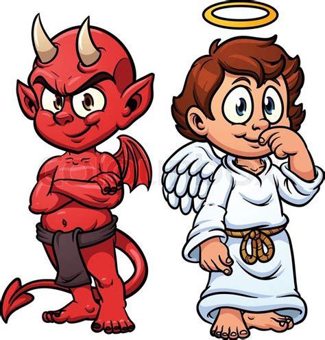 cartoon  angel  devil vector illustration