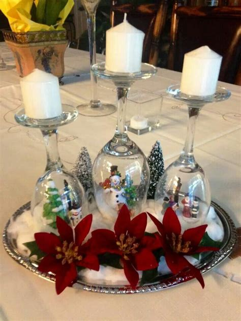 wine glass snow globe candle holder glass
