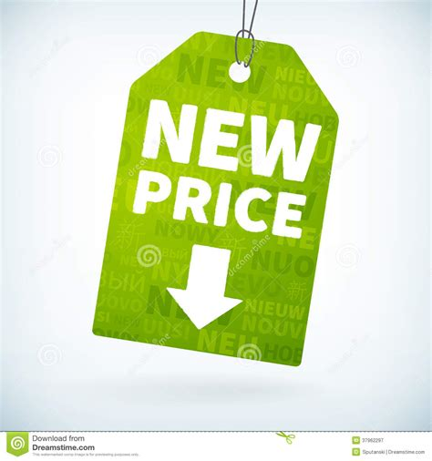Price Of New by Green Paper New Price Tag Royalty Free Stock Photography