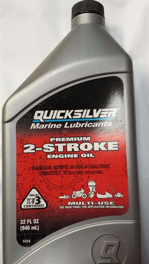 Outboard Boat Motor Fuel Mixture by Mercury Quicksilver 2 Cycle 2 Stroke Premium Outboard
