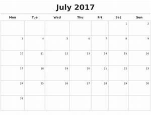July 2017 Calendar Maker