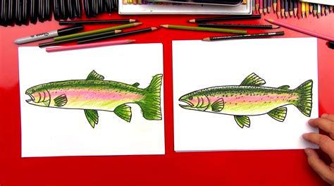 draw  rainbow trout realistic art  kids hub