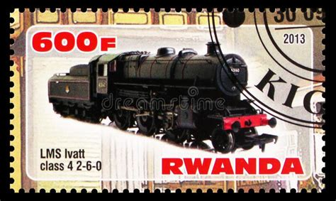 Postage Stamp Printed In Rwanda Shows LMS Ivatt Class 4 2 ...