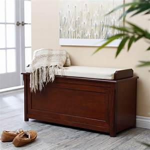 Cedar, Chest, Mission, Bench, With, Cushion, -, Cherry