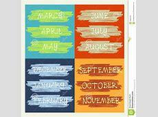 Calendar, Months Of The Year, Handwritten Text Stock