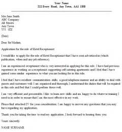 receptionist exle cover letter hotel receptionist cover letter exle cover letters and cv exles
