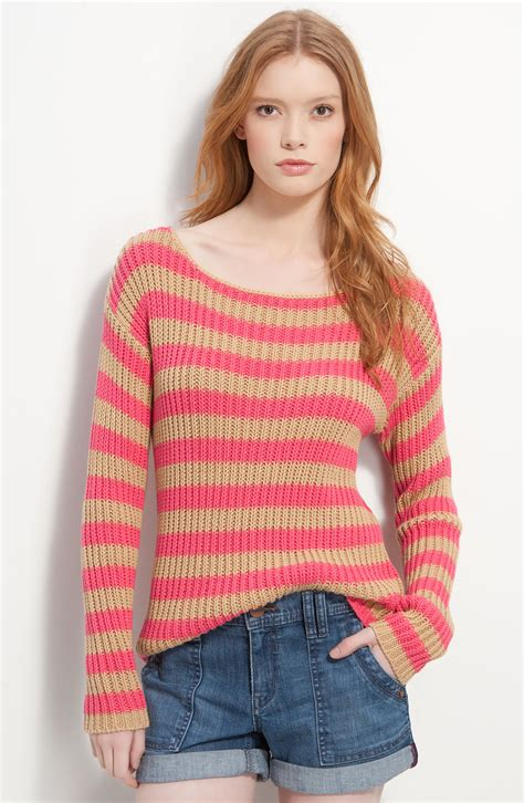 slouchy sweater hinge chunky knit striped slouchy sweater in pink pink