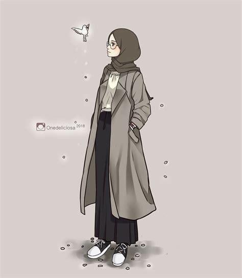 pin oleh ortaya karisik  hijab art animasi seni