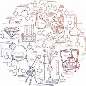 Hand Drawn Science Vintage Chemistry Lab Sketch Round