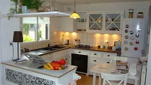 cuisine amenagee en u 14 cuisine blanche plan de With cuisine blanche plan de travail bois