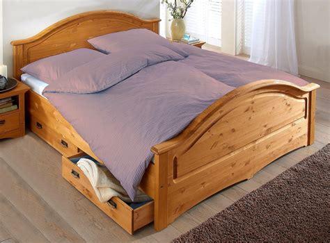 Doppelbett Bett Mit Schubladen Kiefer Massiv Natur