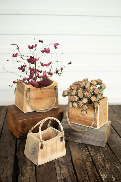 set   rustic recycled wood hand bag planters
