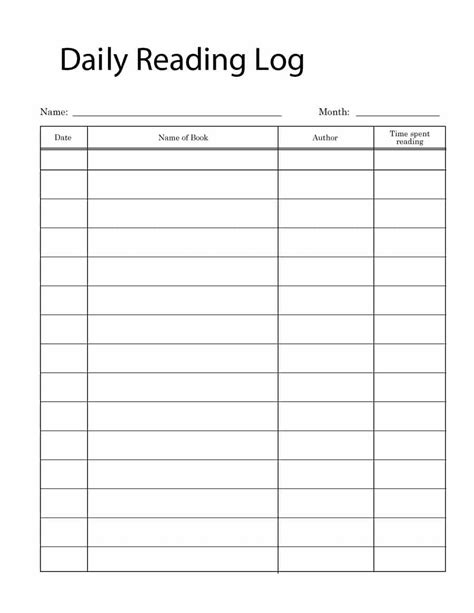 reading journal template 47 printable reading log templates for middle school adults