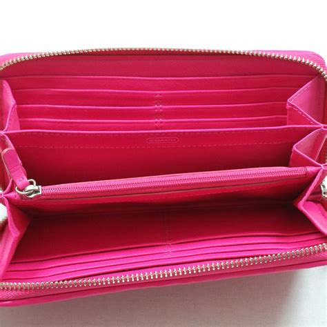 coach madison gathered leather zip  wallet clutch