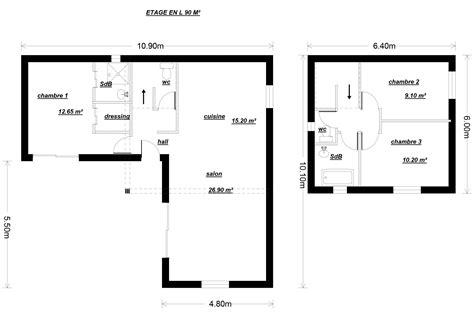 plan maison etage 2 chambres plan maison 90m2 2 etages
