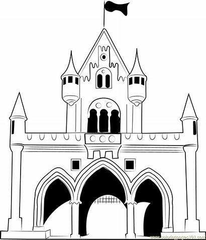 Disney Castle Coloring Pages Walt Drawing Princess