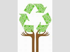 Illustration of recycle tree on white background Stock