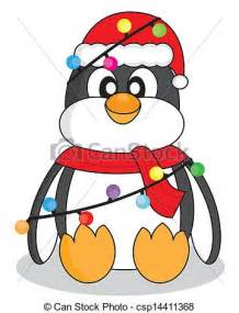 Penguin with Christmas Lights Clip Art