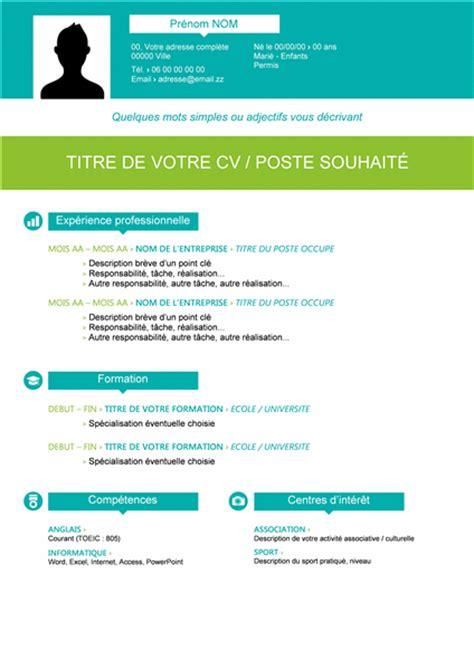 Cv Coloré Gratuit by Telecharger Le Modele Environ Curriculum Vitae Exemple Gratuit
