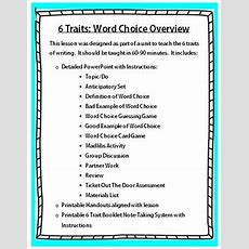 6 Traits Of Writing Word Choice Lesson By The Interactive Learner