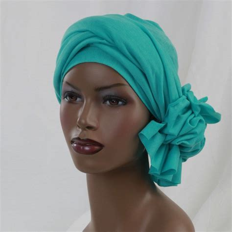 aqua turban dreads head wrap jaw clip bow alopecia scarf