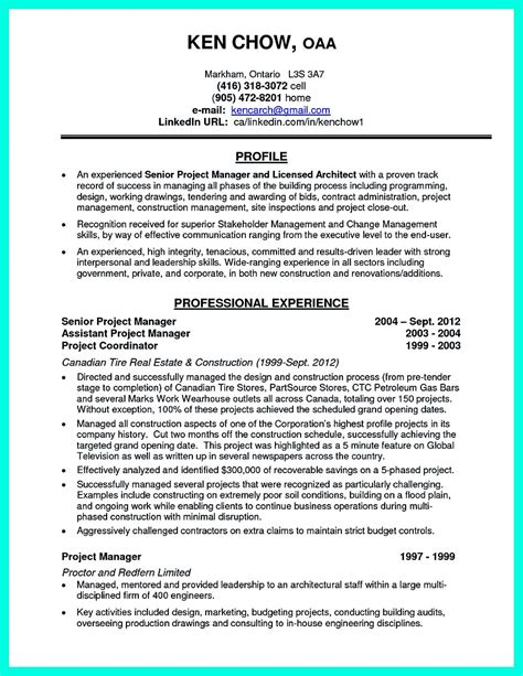 Project Manager Profile by Cool Construction Project Manager Resume To Get Applied