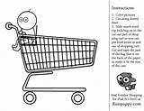 Coloring Shopping Pages Activity Preschool Toddler Grocery Colouring Printable Basket Fun Link Sheets Inside sketch template