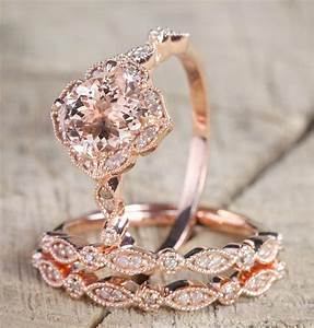 225 carat morganite diamond trio wedding bridal ring set for Wedding and engagement ring set