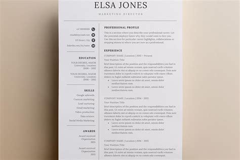 resume template cover letter icon for microsoft word 3 page minimalistic and