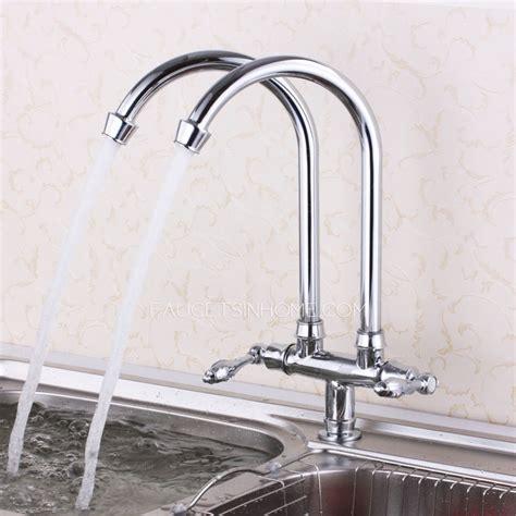 vintage rotatable double faucet bridge kitchen faucet