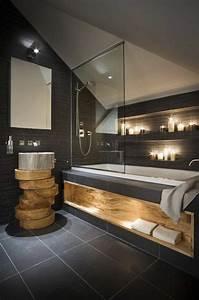une salle de bains grise elegance et chic contemporain With salle de bain design avec vasque en marbre noir