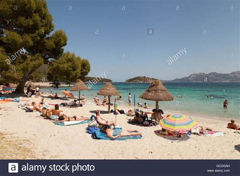 Sunbathers On Cala Formentor Beach North Coast Mallorca