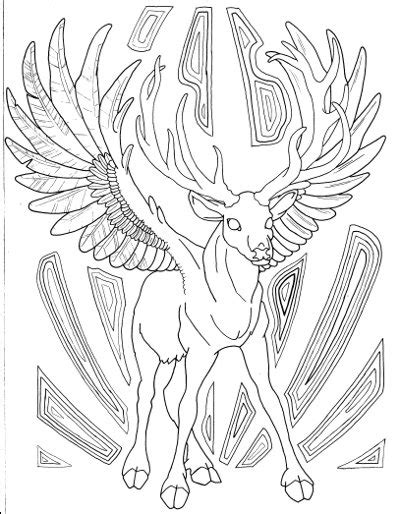 winged buck coloring page  adults root inspirations