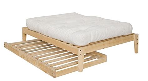 twin size trundle bed frame unfinished wood  clean solid wood  toxins   america