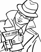 Spy Coloring Pages Secret Detective Holding Spies  Drawing Print Fresh Template Printable Beat Band Totally Decode Agents Netart Puzzle sketch template
