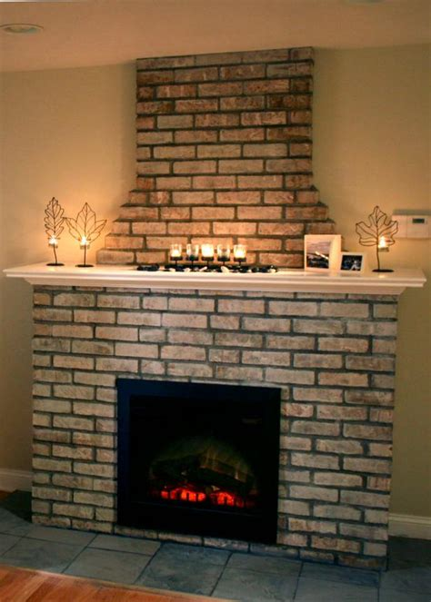 building  electric fireplace  brick facade hgtv