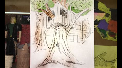 draw  tree house   point perspective youtube