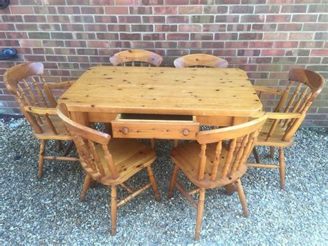 I have partnered with kyle and audrey. Solid chunky pine farmhouse dining table with drawer. Plus 6 Chairs   in Fareham, Hampshire ...