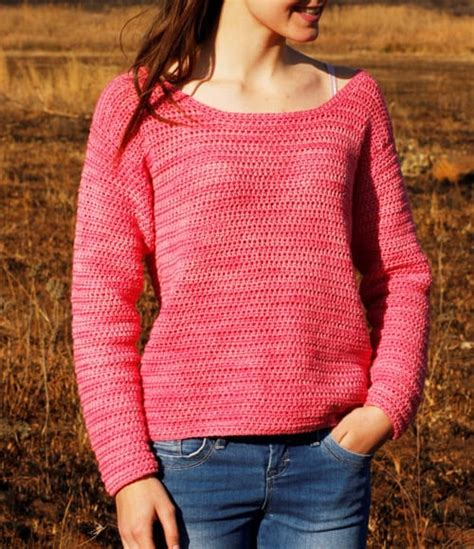 Simple Boat Neck Sweater Pattern by 20 Free Crochet Sweater Patterns For Chilly Days