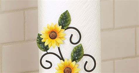 sunflower paper towel holder kitchen table counter home