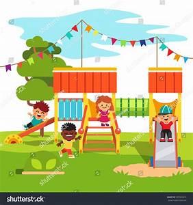 Kindergarten Outdoor Park Playground Slide Playing Stock ...