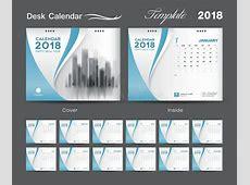 Desk Calendar 2018 Template Layout Design, Blue Cover