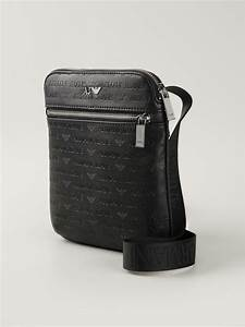 Armani jeans Logo Print Messenger Bag in Black for Men | Lyst