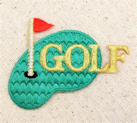 gold applique iron on applique embroidered patch metallic gold golf