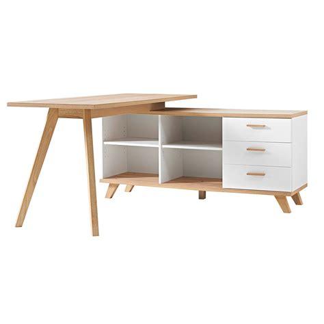 bureau d angle en bois bureau d 39 angle en bois avec 4 niches 3 tiroirs longueur