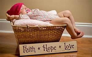 Charming, Baby, Sleeping, In, Basket, Wallpapers