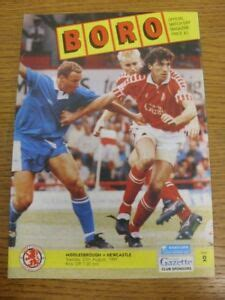 27/08/1991 Middlesbrough v Newcastle United . Footy Progs ...