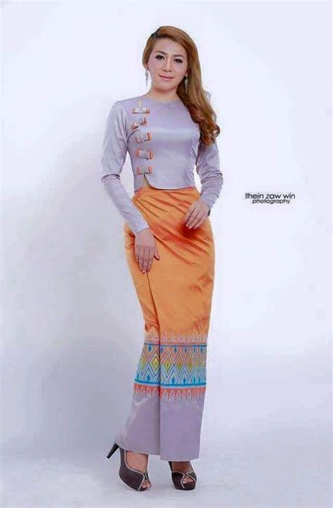 images  myanmar dress simple  pinterest