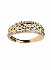 ladies 14ct gold celtic knot diamond ring blarney With womens celtic wedding rings