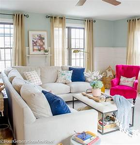 Blue + Pink Living Room Decorating Ideas - Four